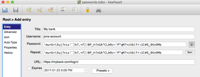 Keepass entry