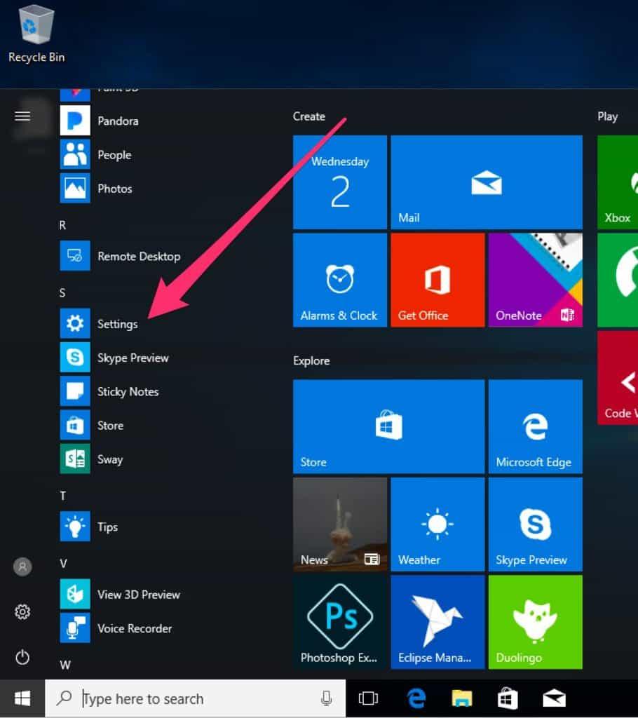 MS 10 settings menu item