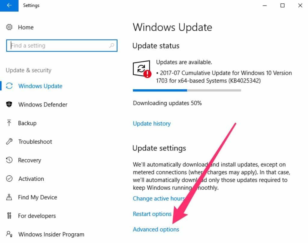 MS 10 updates advanced options link