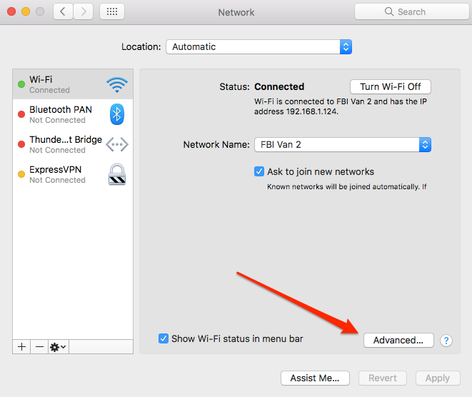 MacOS Settings Network
