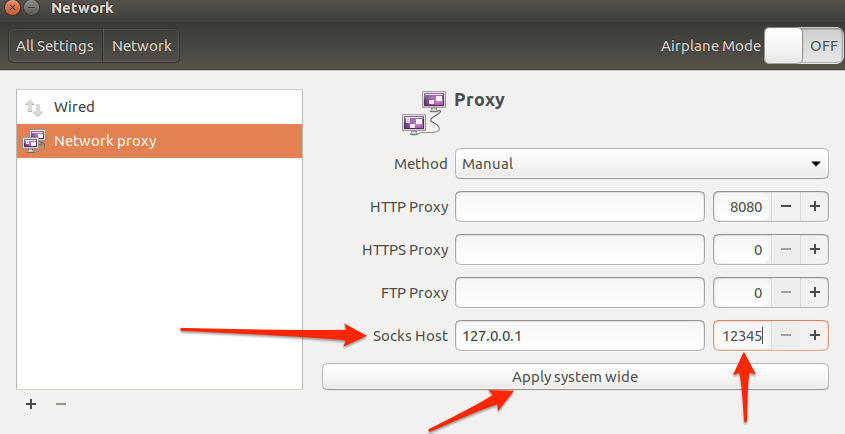 Ubuntu network proxy settings