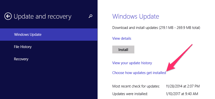 Windows choose how updates are installed menu