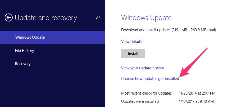 Windows choose how updates are installed menu