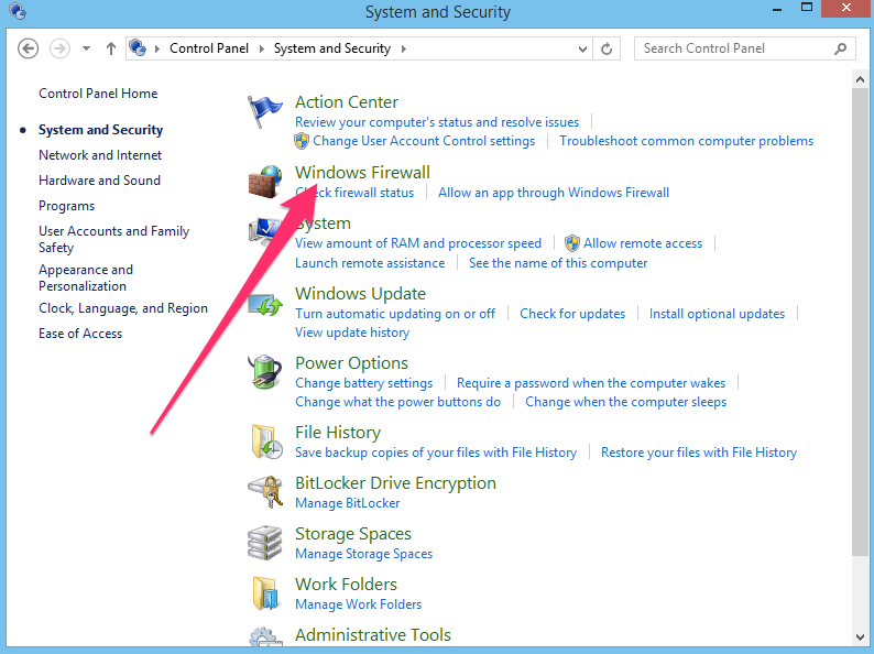 Windows control panel firewall link
