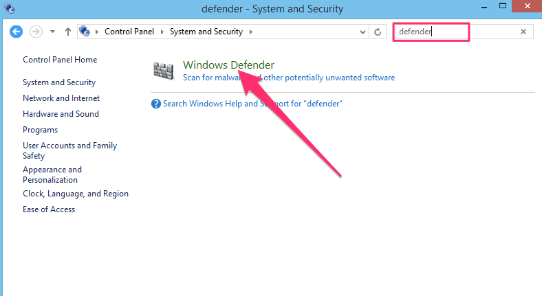 Windows control panel search for defender