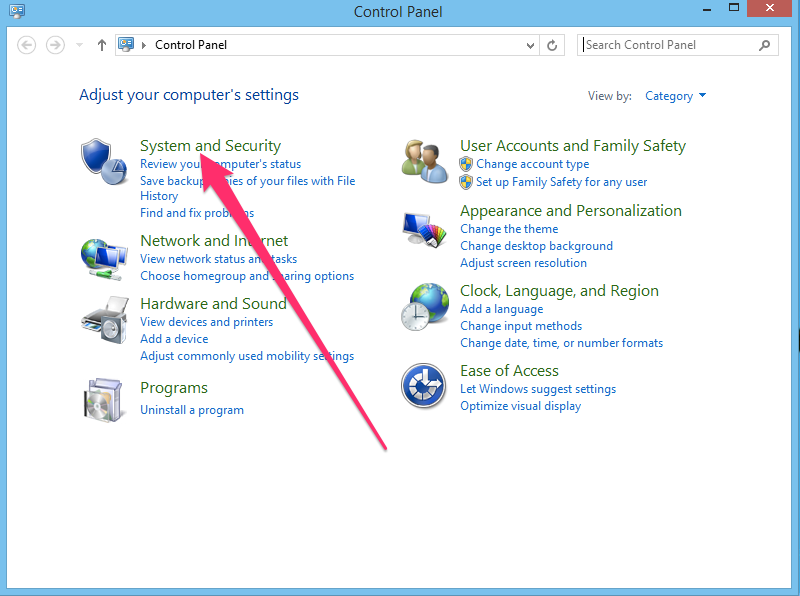 Windows control panel system and security