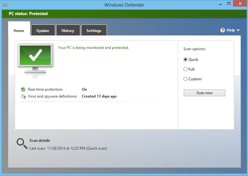 Windows defender configuration