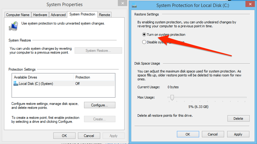 Windows enable system restore