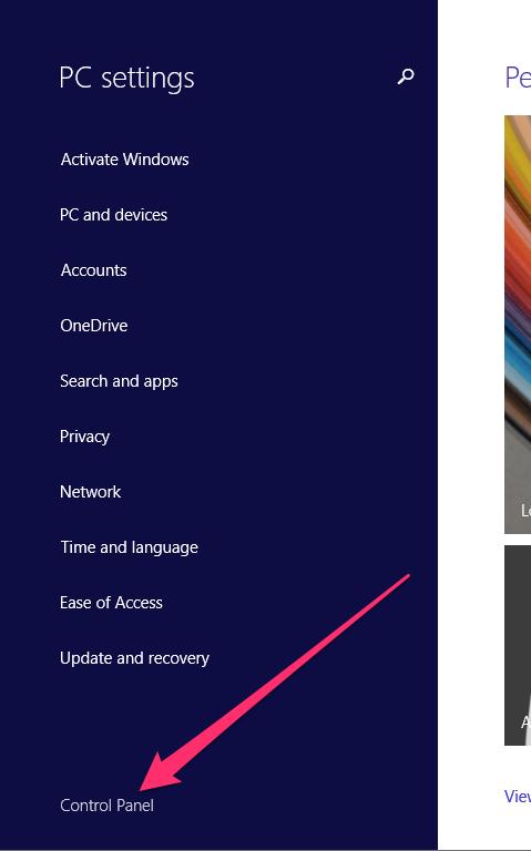 Windows select control panel