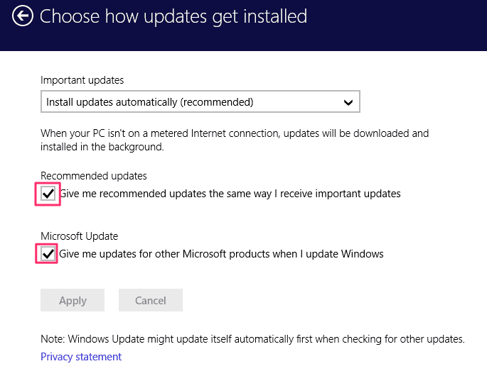 Windows updates settings
