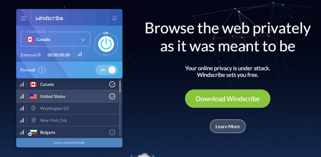 windscribe homepage