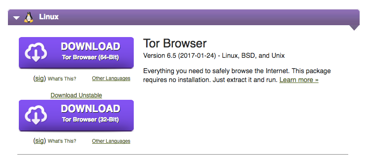 linux tor download prompt