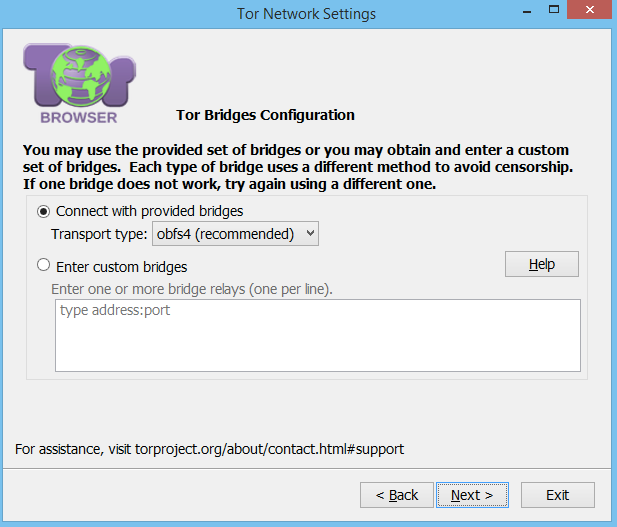 windows tor bridges configuration
