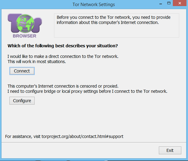 windows tor first run network setup