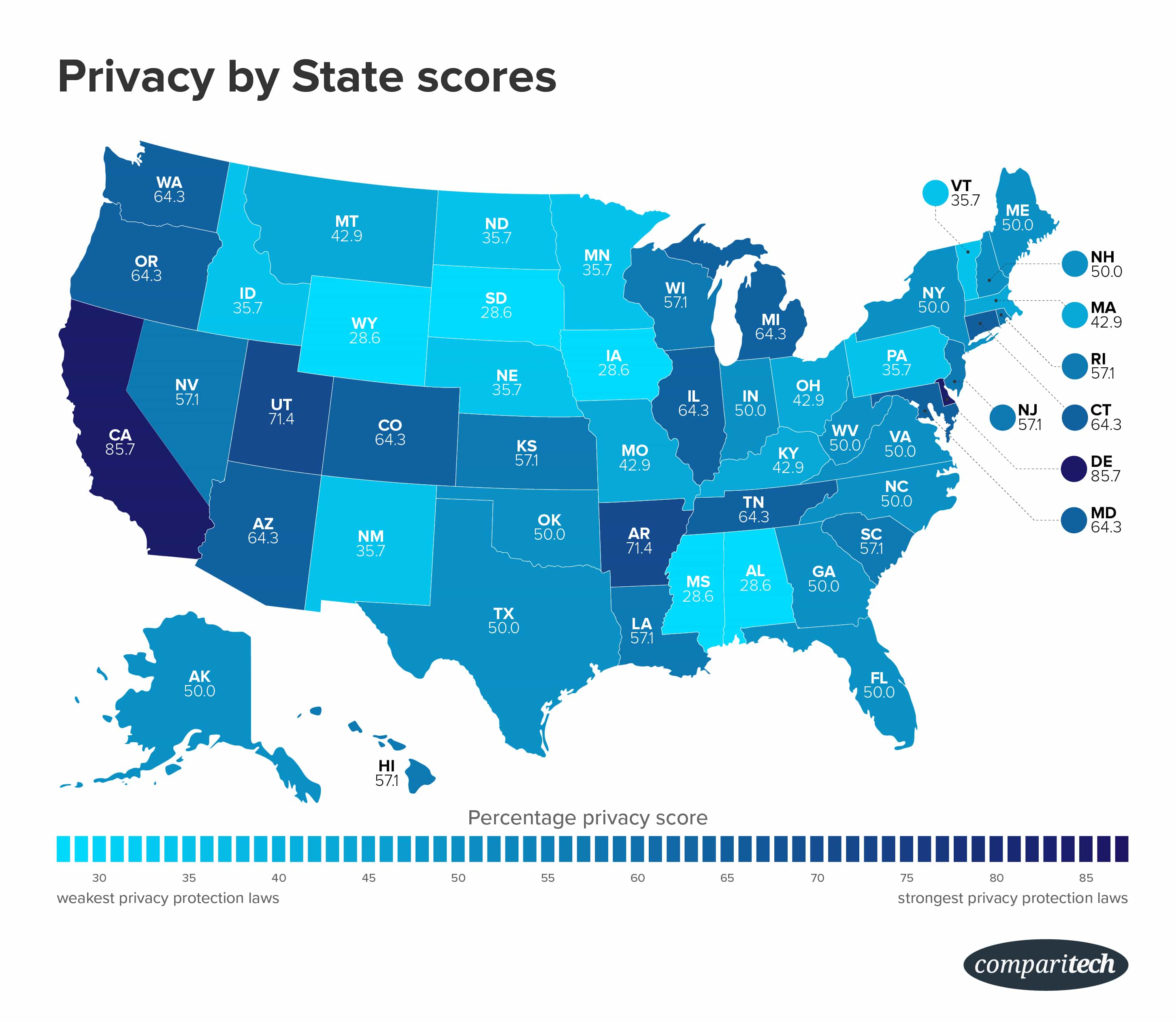 privacy by state map