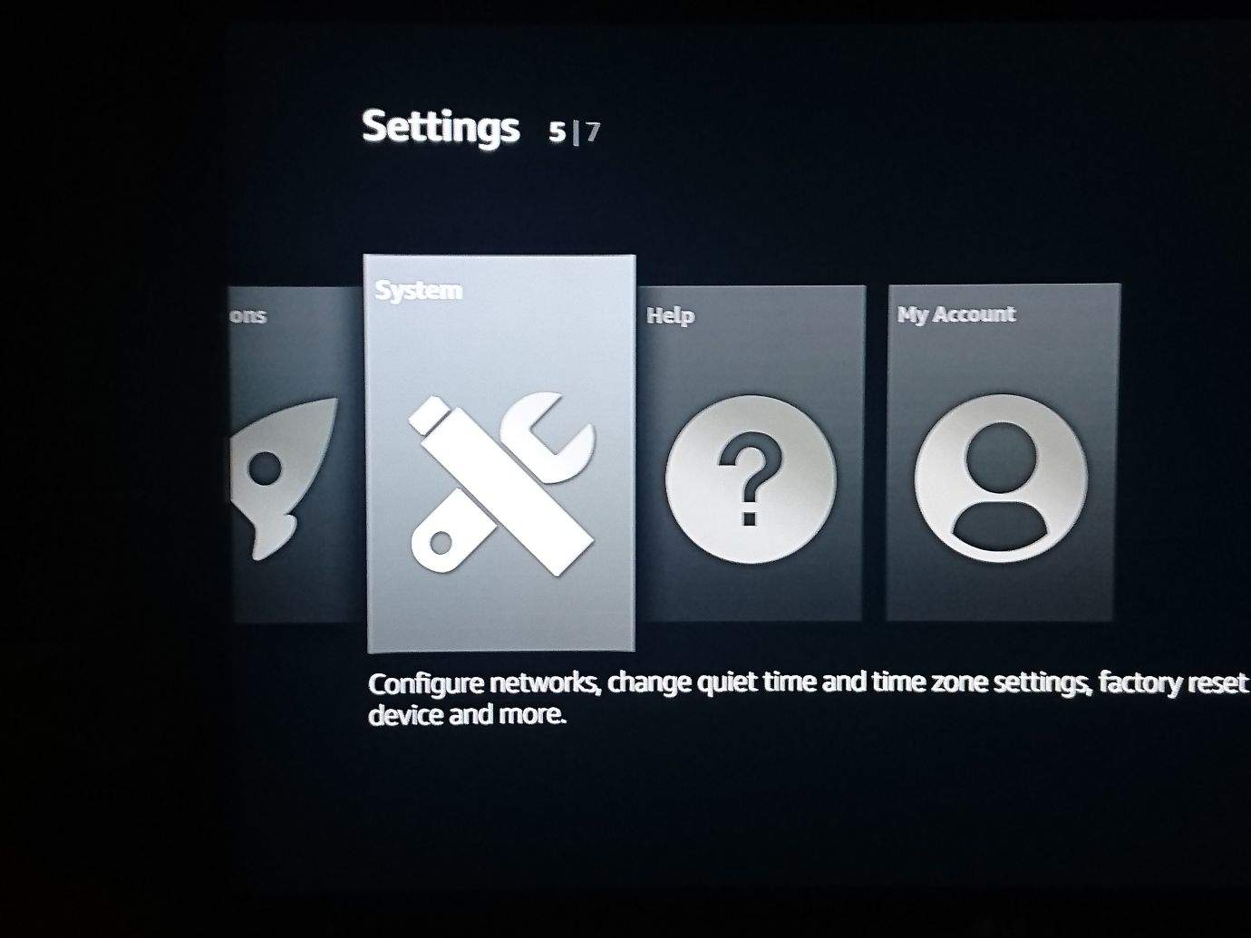 system fire stick settings
