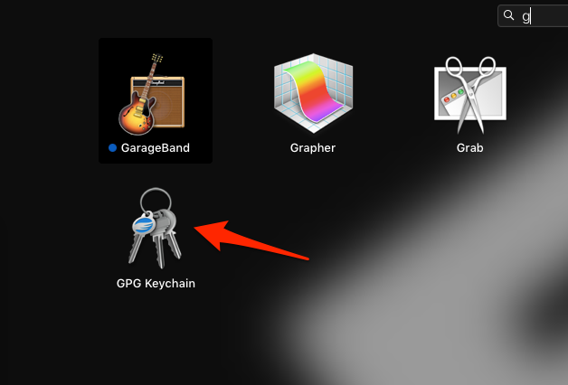 GPG keychain app in launchpad