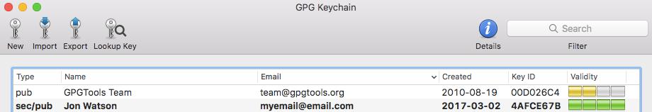 GPG keychain key listing