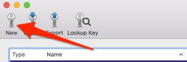 GPG keychain new button