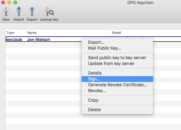 GPG keychain sign menu option