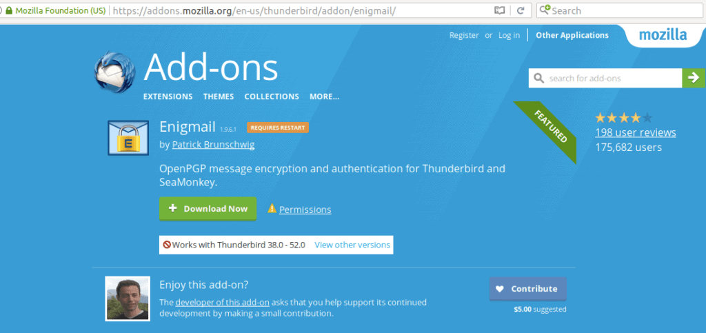 Thunderbird Enigmail add on page
