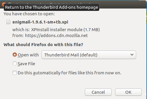 Thunderbird Enigmail download options