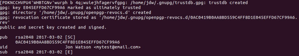 Ubuntu GPG key generated