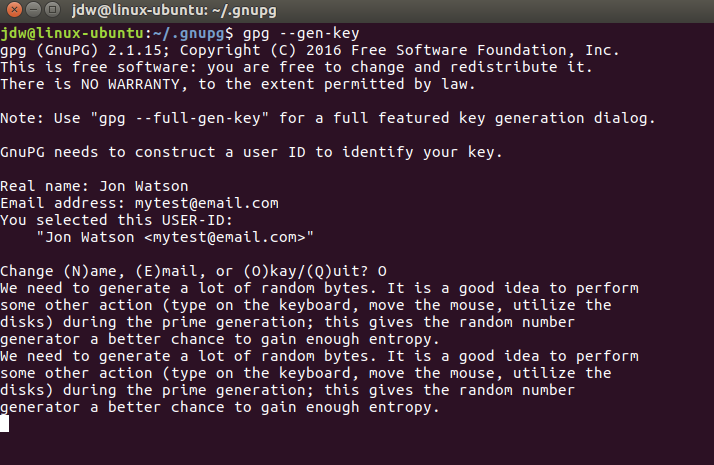 Ubuntu GPG key generation and entropy