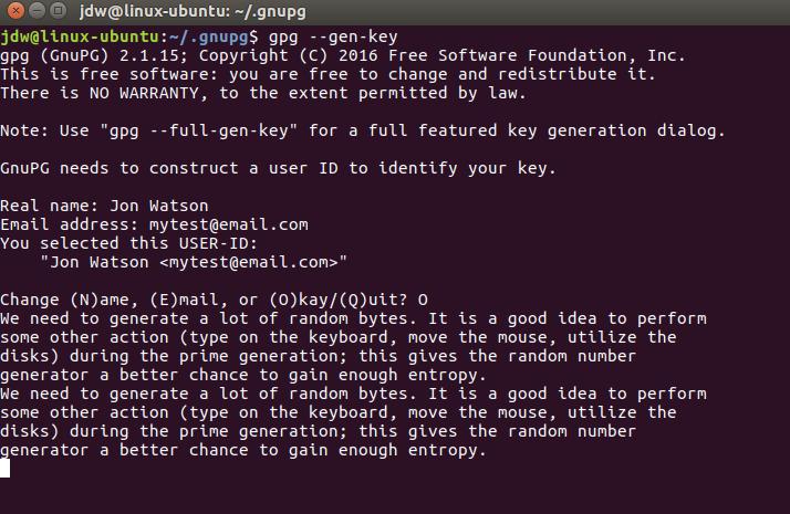 Ubuntu GPG key generation and entropy