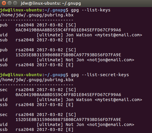 Ubuntu GPG list keys command line
