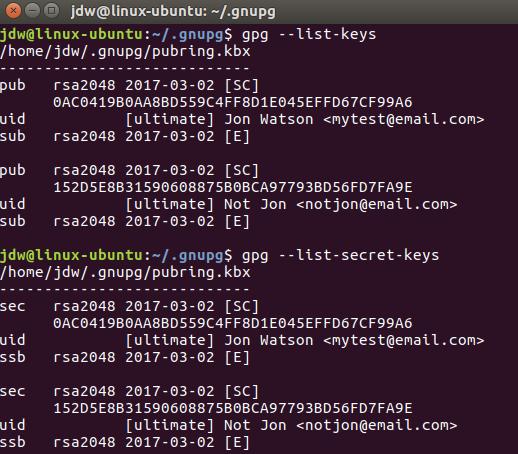 Ubuntu GPG list keys command line