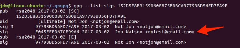 Ubuntu GPG show signatures command line