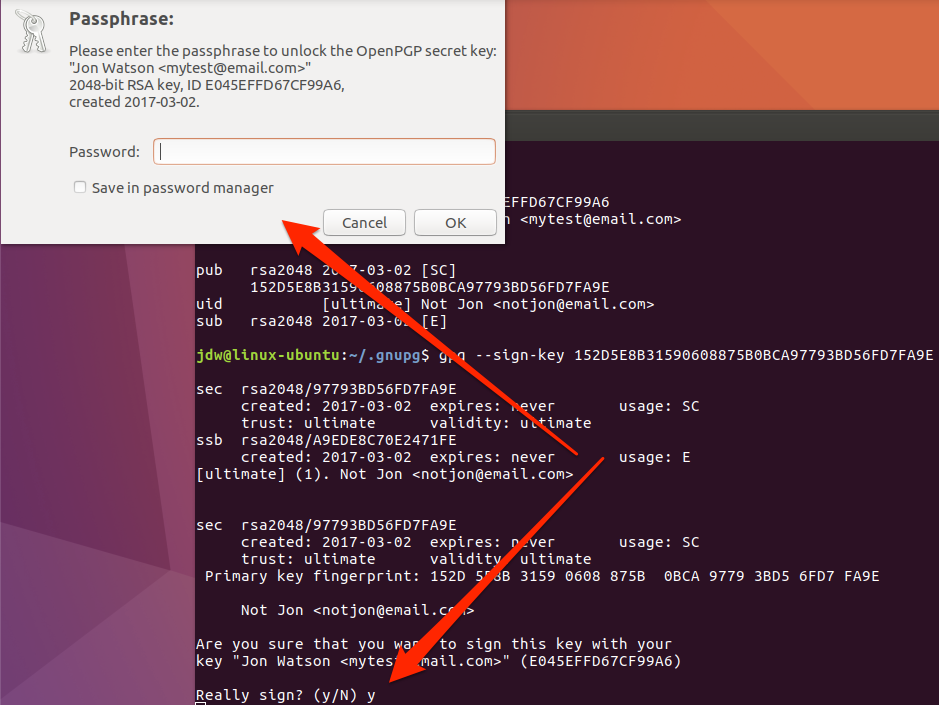 Ubuntu GPG sign key password prompt command line