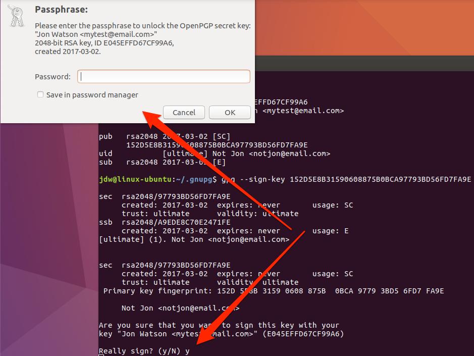 Ubuntu GPG sign key password prompt command line