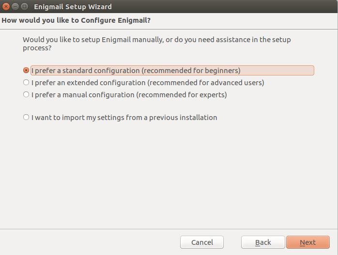 Ubuntu configure enigmail 2