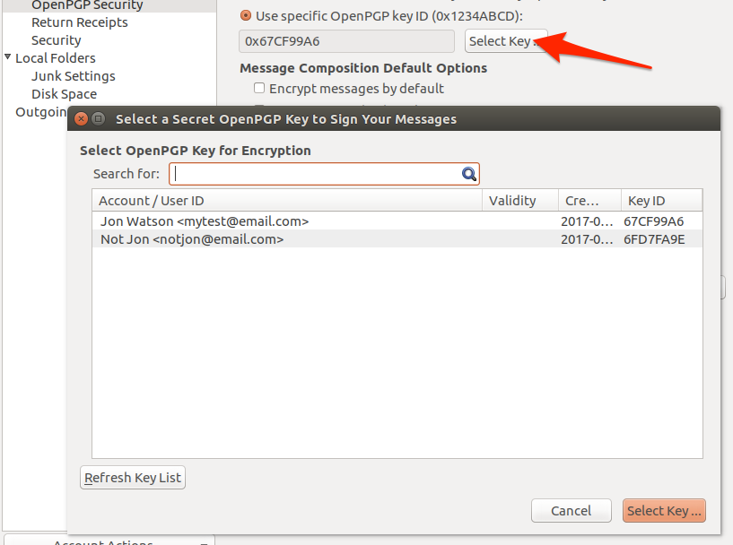 Ubuntu engimail account key selection options