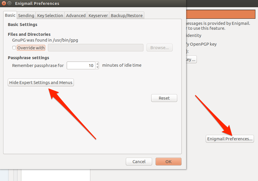 Ubuntu engimail basic preferences options