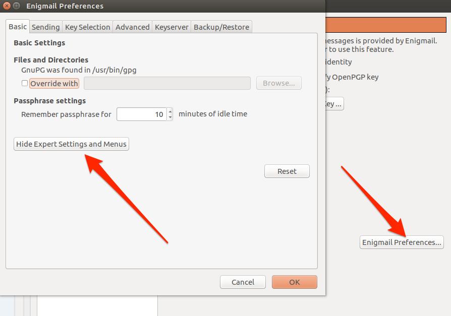 Ubuntu engimail basic preferences options