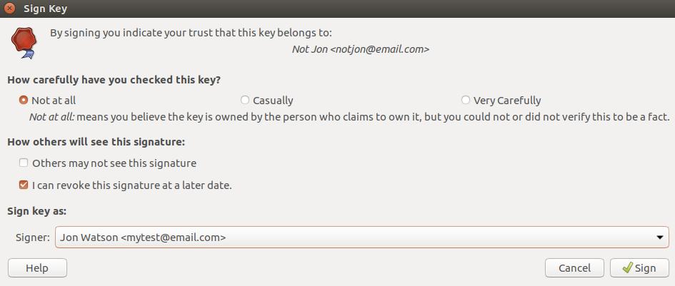Ubuntu seahorse sign key