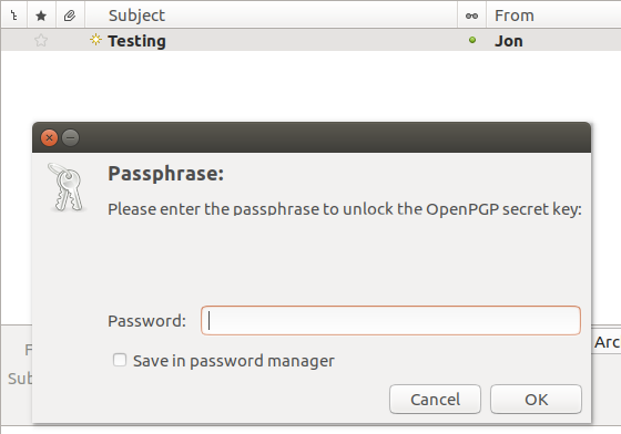Ubunturead encrypted email