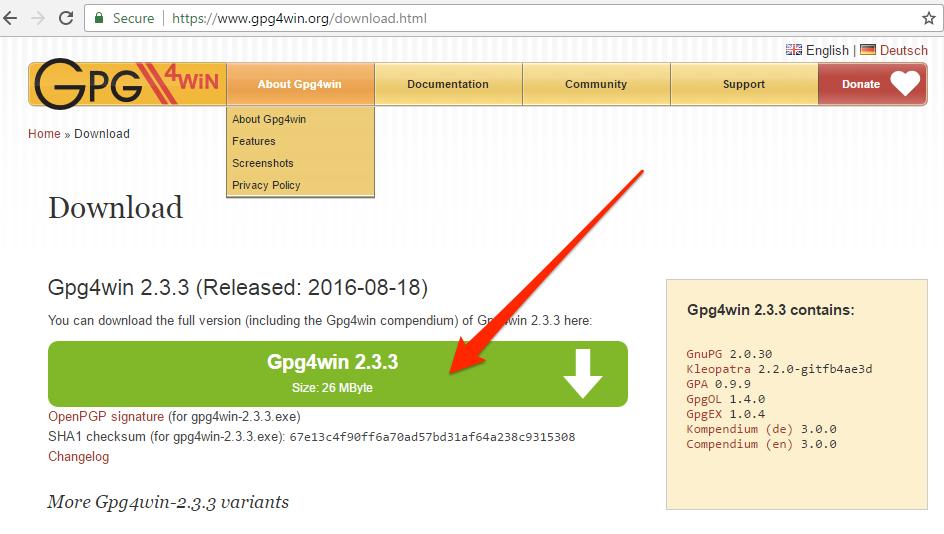 Windows GNUPG download