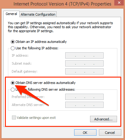Windows IP DNS settings