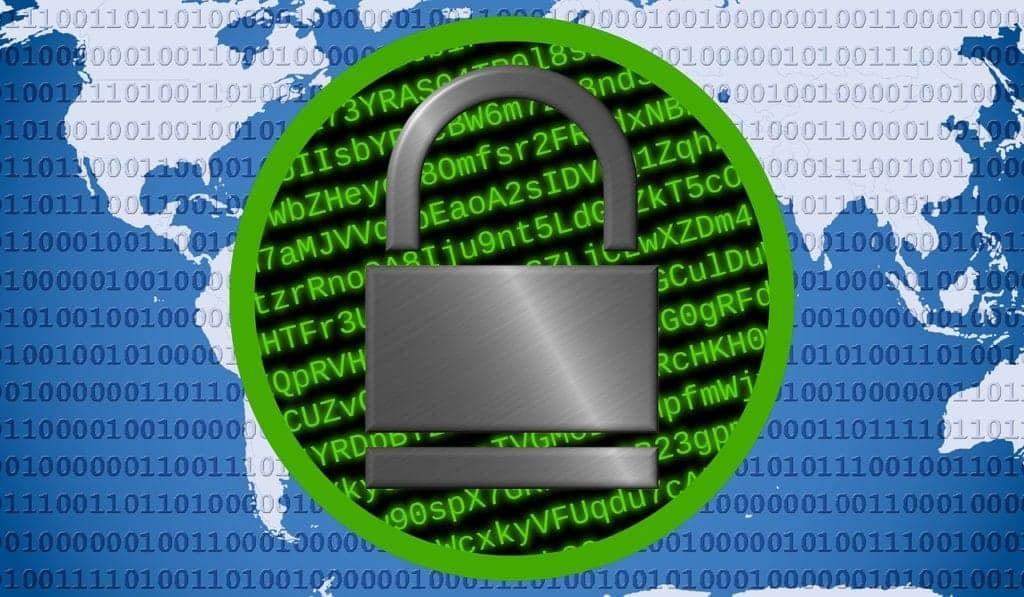 Globe and lock signifying encryption