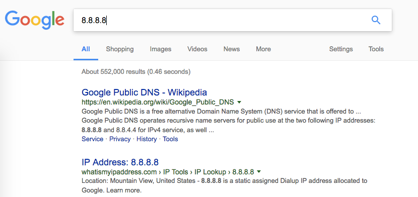 google DNS server search