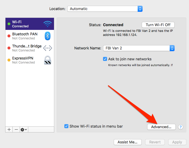 macOS DNS settings