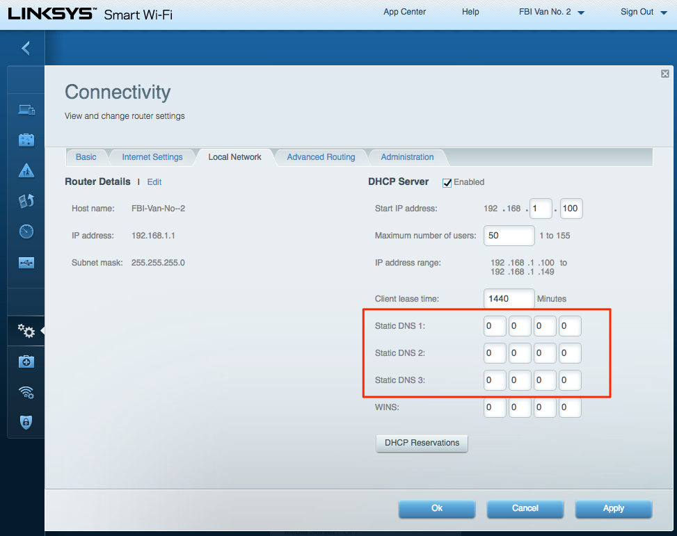 router 2 DNS settings