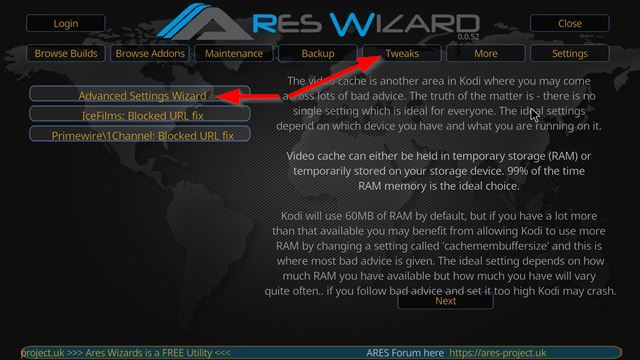 kodi_stop_buffering_ares_wizard_cache_advice_arrows