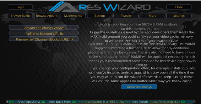 kodi_stop_buffering_ares_wizard_cache_generate_custom_settings