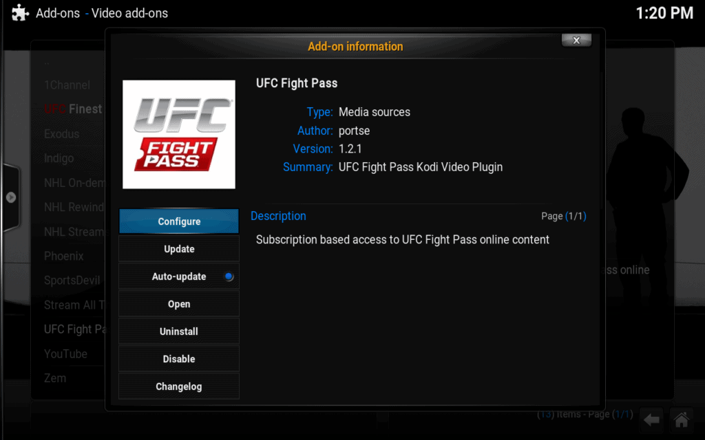 ufc fight pass kodi