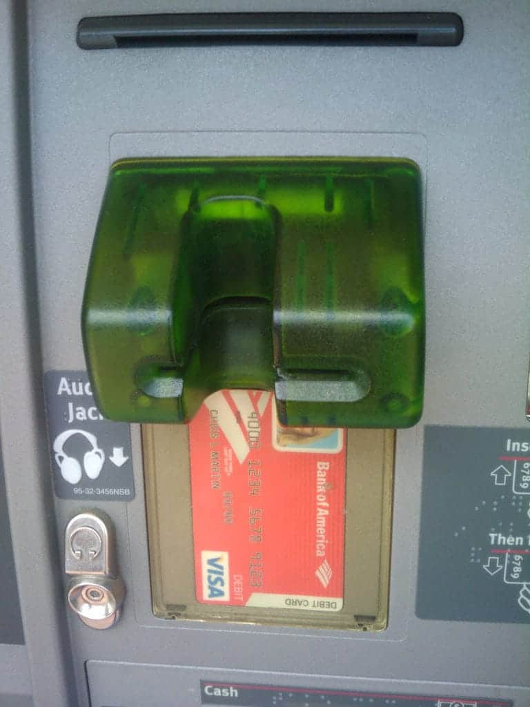 Bank machine skimmer